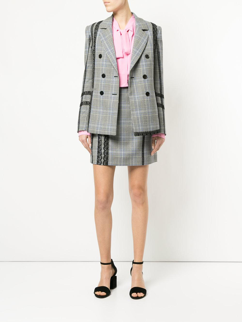 MSGM Wool Lace Trim Check Skirt in Grey (Grey)