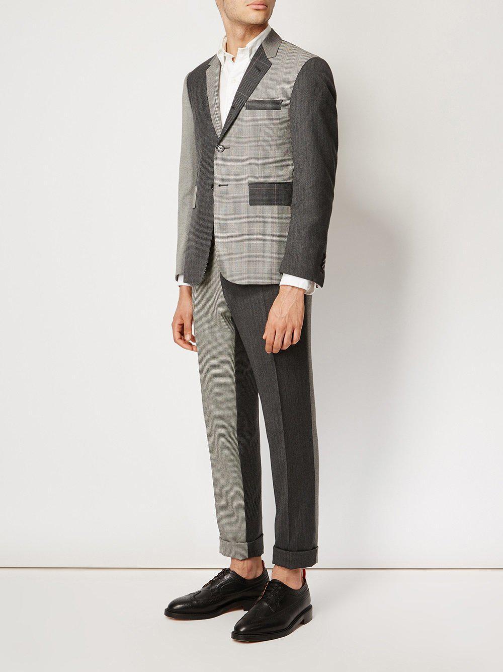 Thom Browne Wol Notched Lapel Patterned Blazer in het Grijs voor heren