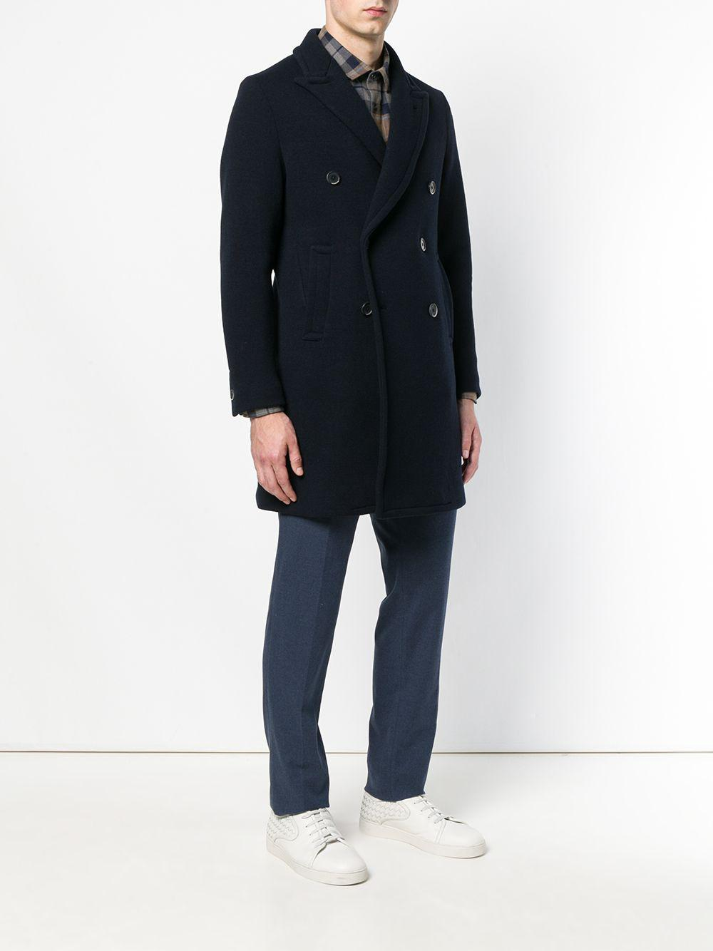 Barena Cotton Double Breasted Coat in Blue for Men