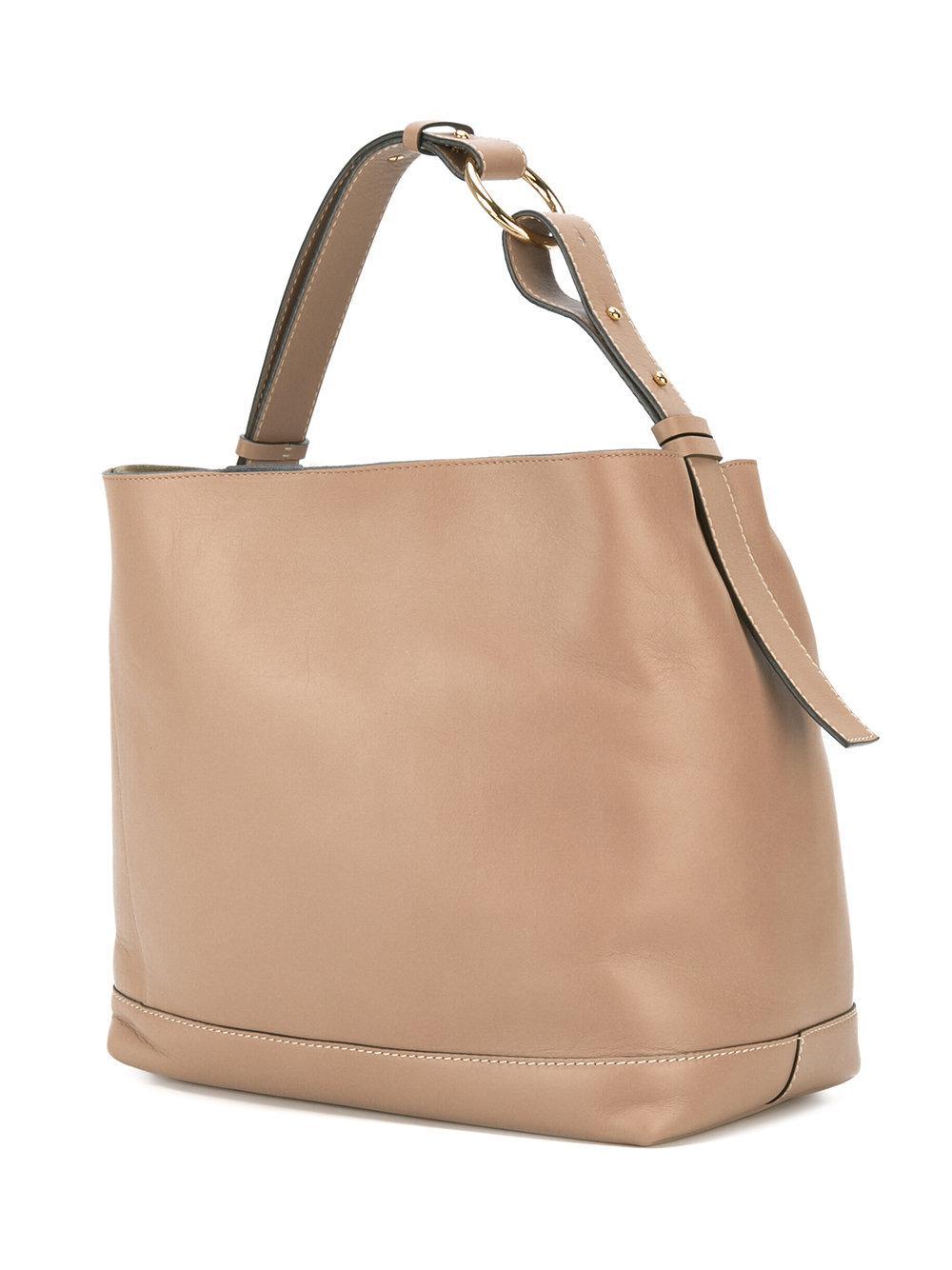 Marni Leather Halo Pod Tote Bag in Natural