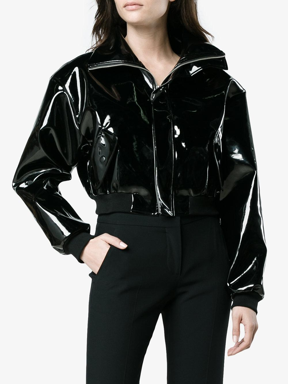 Charm S Vinyl Cropped Biker Jacket In Black Lyst