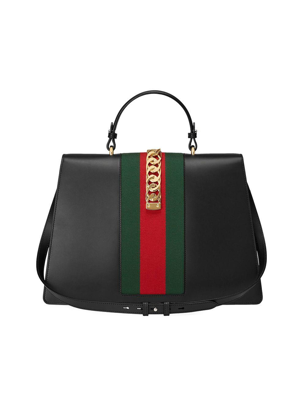 ac17f72c1b Lyst - Gucci Sylvie Leather Maxi Top Handle Bag in Black
