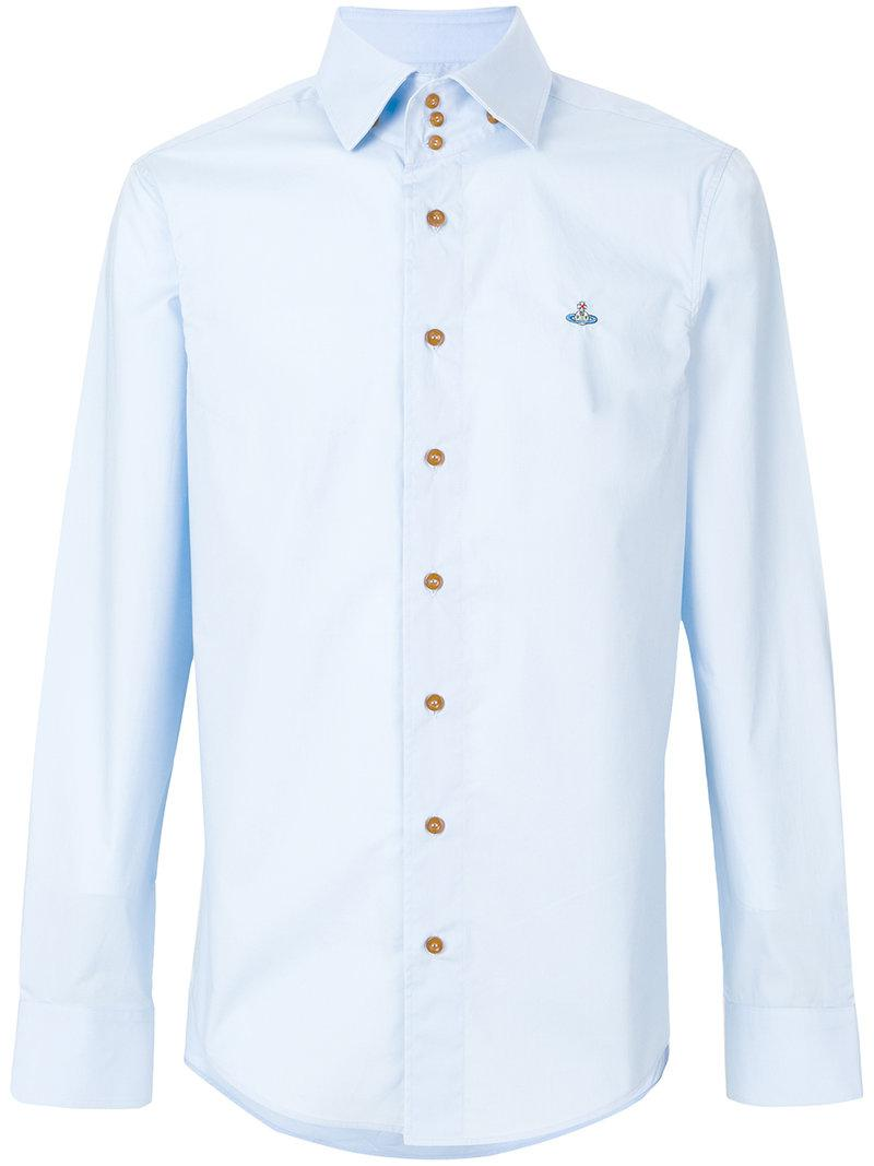 Lyst vivienne westwood embroidered logo shirt in blue for Embroidered logos on shirts