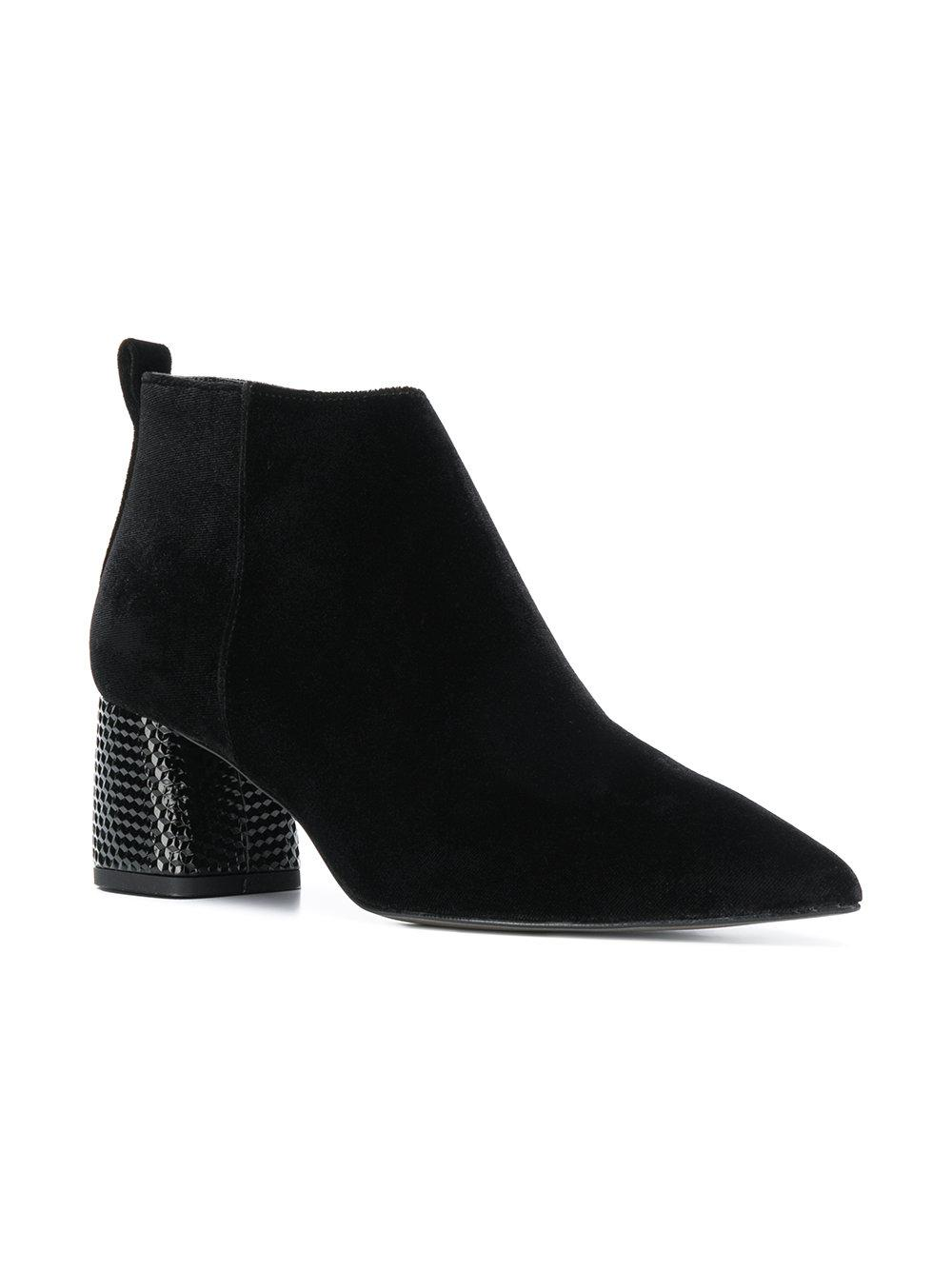 Pollini Velvet Embellished Chunky Heel Boots in Black
