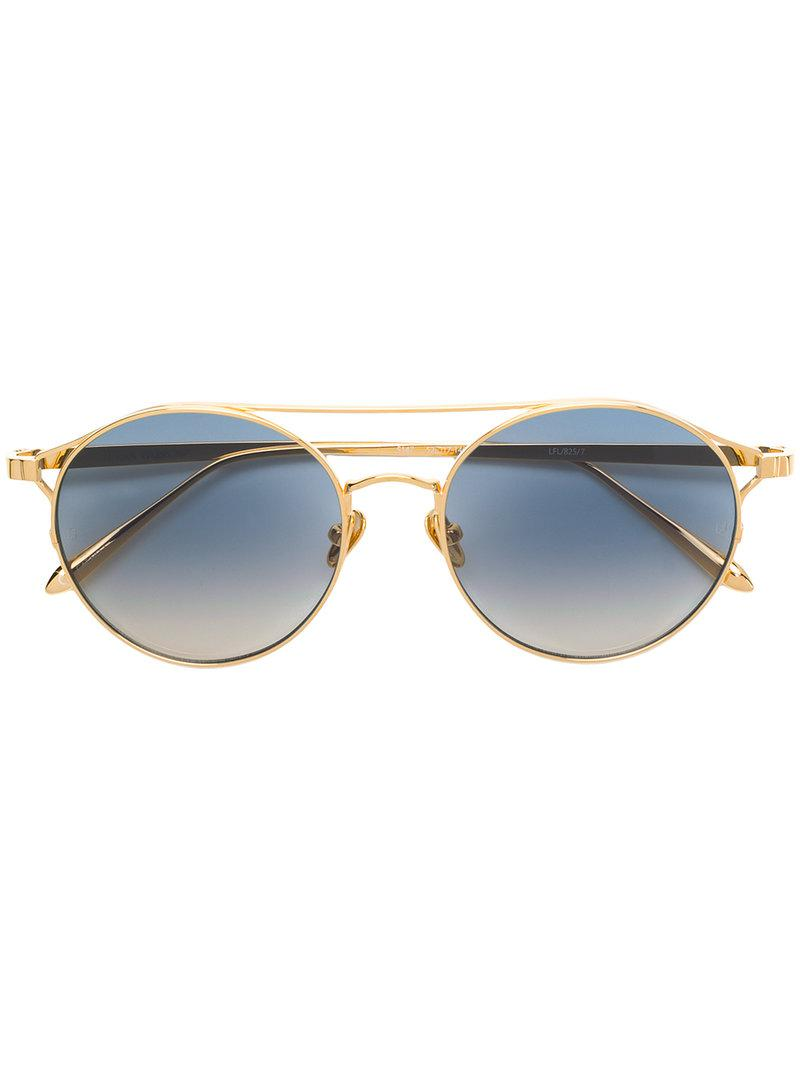 83f1cd388a42 Linda Farrow Luxe Round Frame Sunglasses in Metallic - Lyst