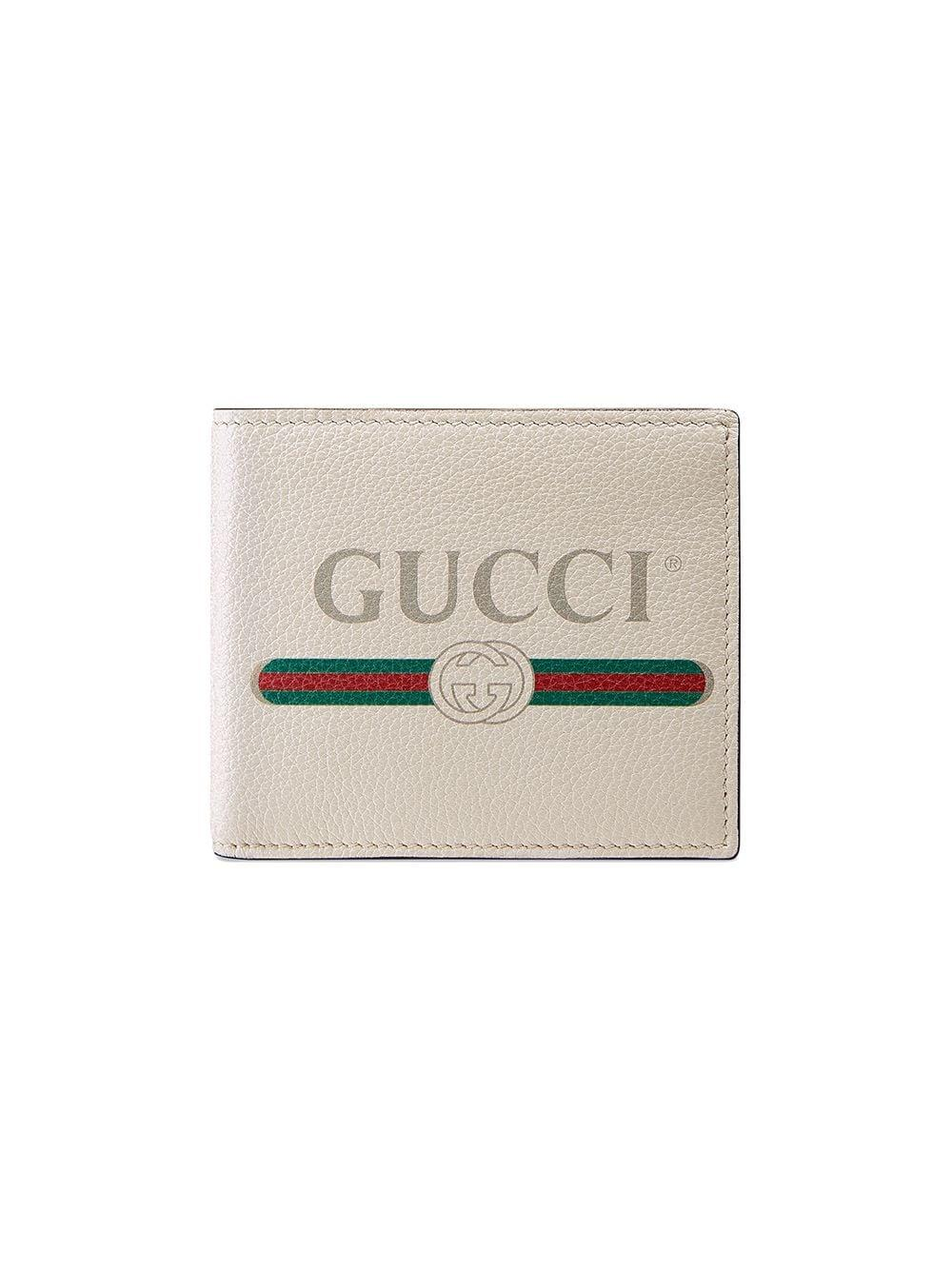 Gucci Print Leather Bi-fold Wallet in White for Men - Save ...