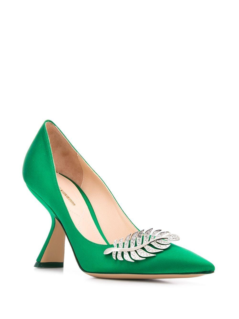 Zapatos de tacón Monstera Nicholas Kirkwood de Raso de color Verde