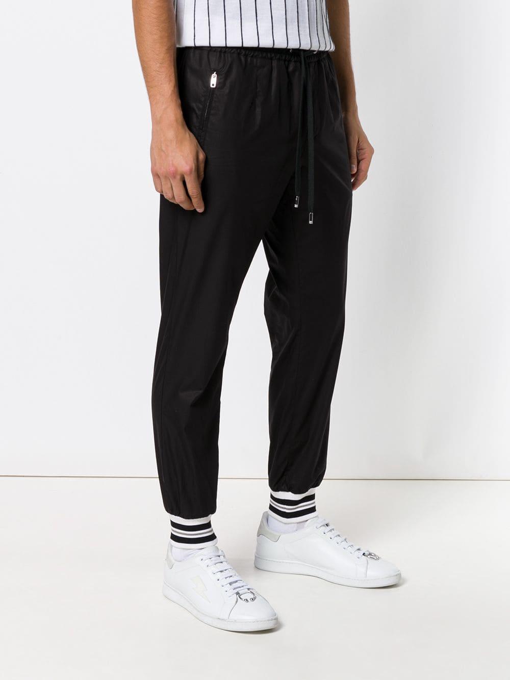 Dolce & Gabbana Zijde joggingbroek Met Sporenmanchetten in het Zwart voor heren