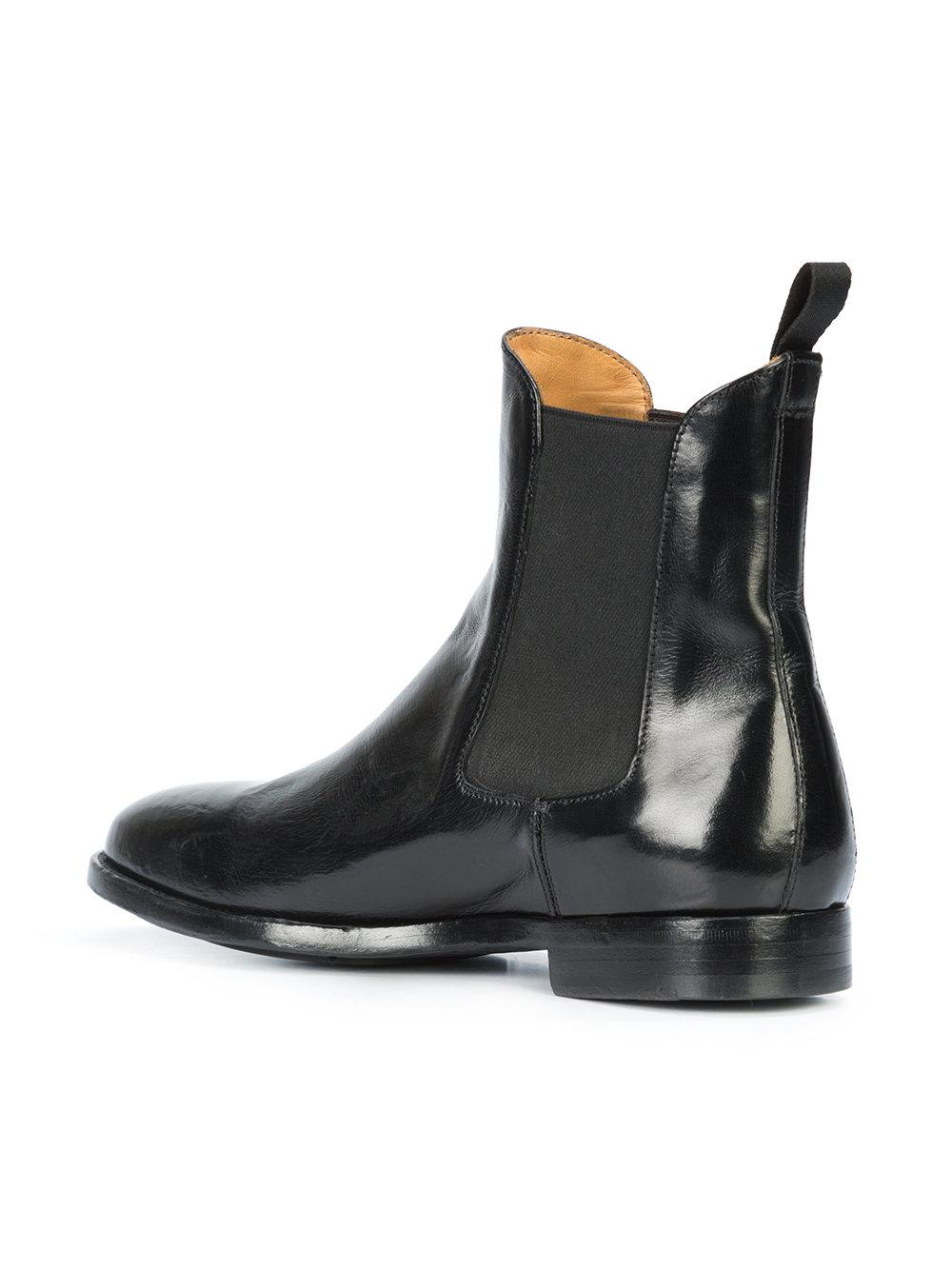 Officine Creative Leather Ankle Length Boots in Black