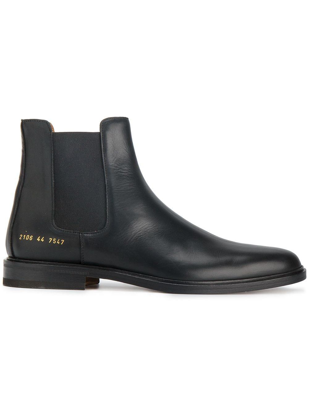 Common Projects Leather Chelsea Boots In Black For Men