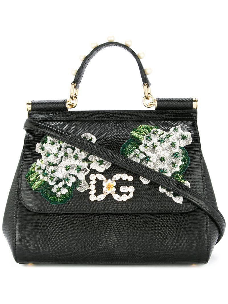 6de46e585068 Lyst - Dolce   Gabbana White Geranium Printed Sicily Bag in Black