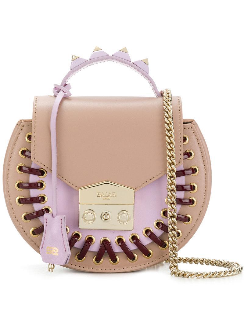 b5c28d18e42d Lyst - Salar Rivet Detail Shoulder Bag