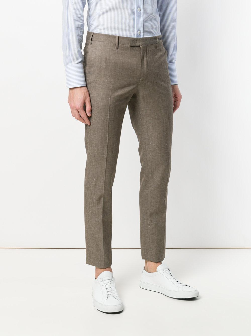 PT01 Wool Skinny Trousers in Brown for Men