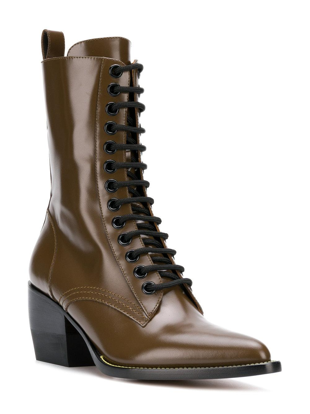 Chloé Leather Rylee Mid-calf Boots in Brown