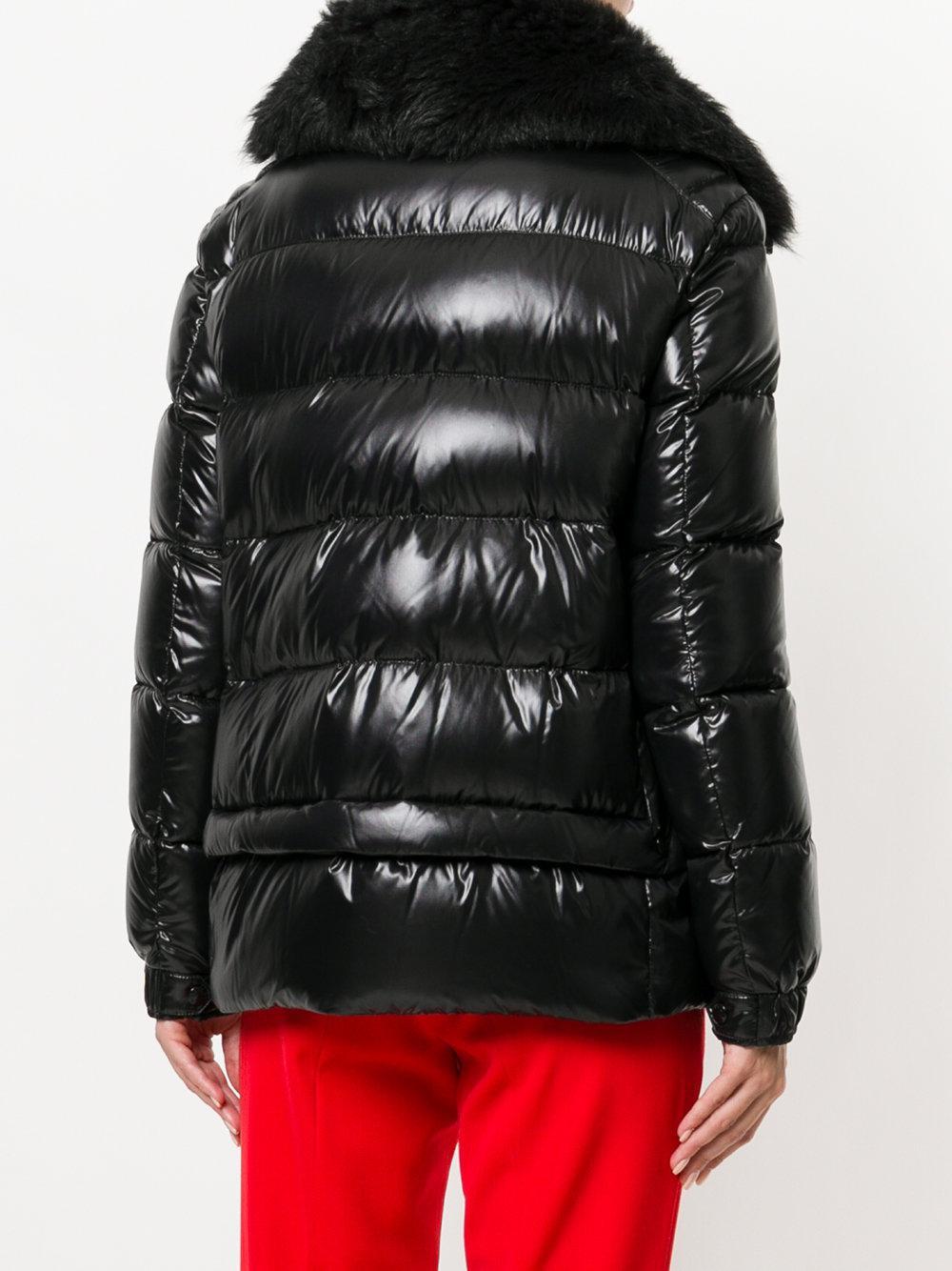 lyst moncler grenoble short padded coat in black. Black Bedroom Furniture Sets. Home Design Ideas