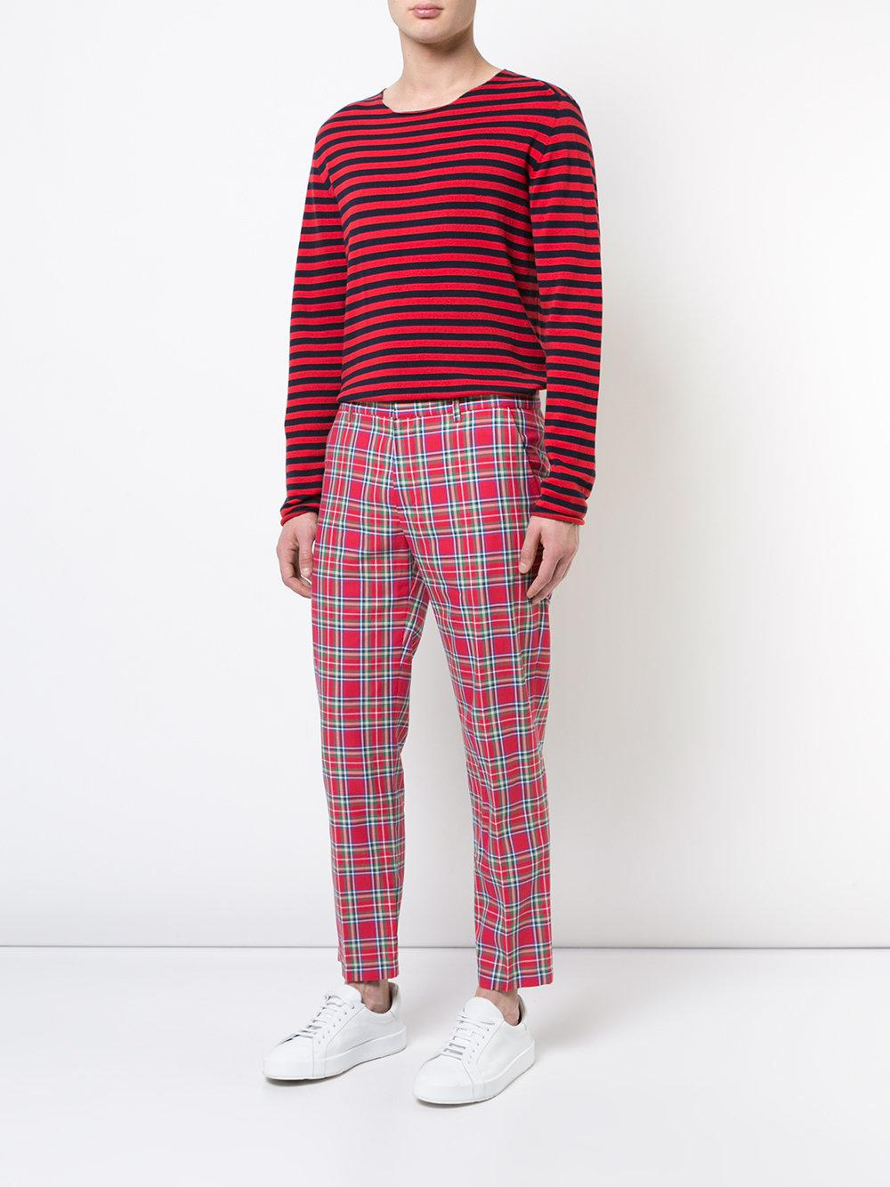 Faith Connexion Cotton Plaid Print Trousers in Red for Men