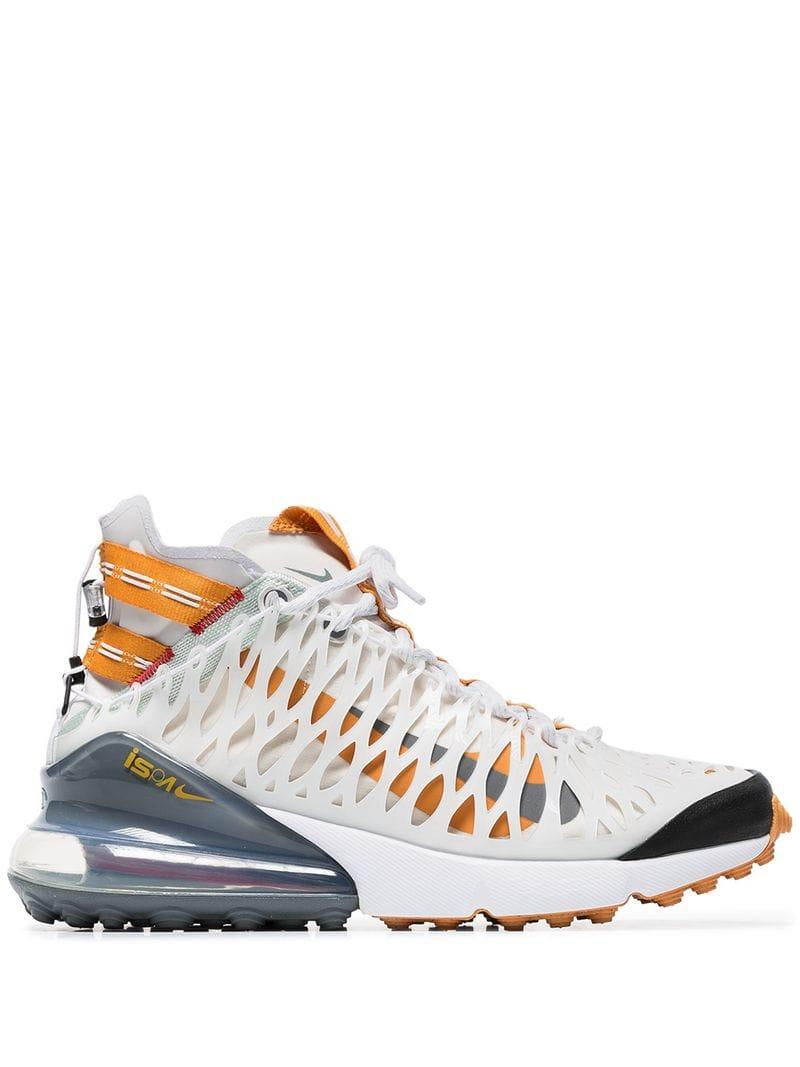 8e208b0c386d Lyst - Nike White And Orange Ispa Air Max 270 High Top Sneakers in ...