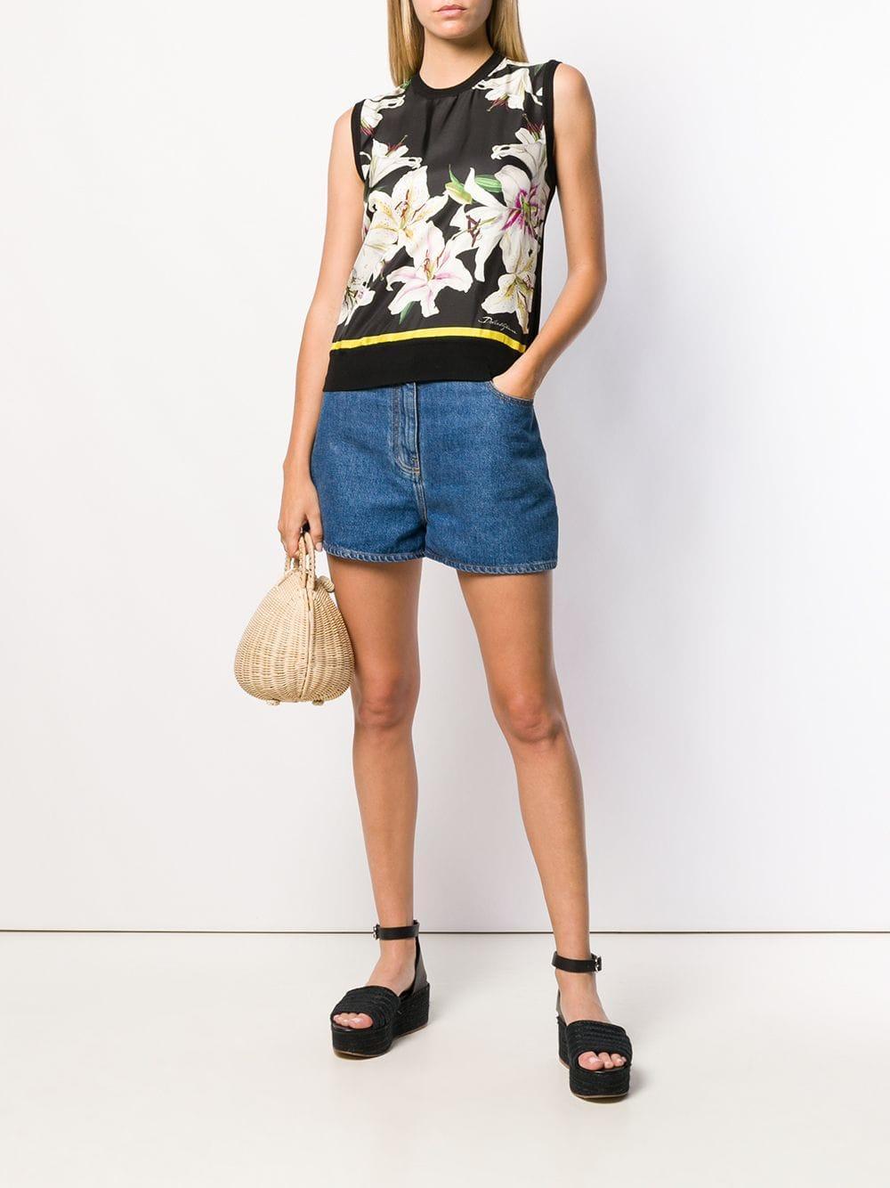 Top de punto con motivo floral Dolce & Gabbana de Seda de color Negro
