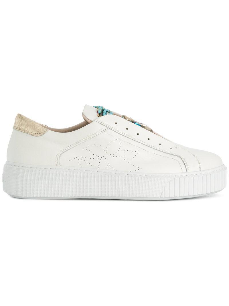 bead embellished slip-on sneakers - White Tosca Blu BmADjeEKG6