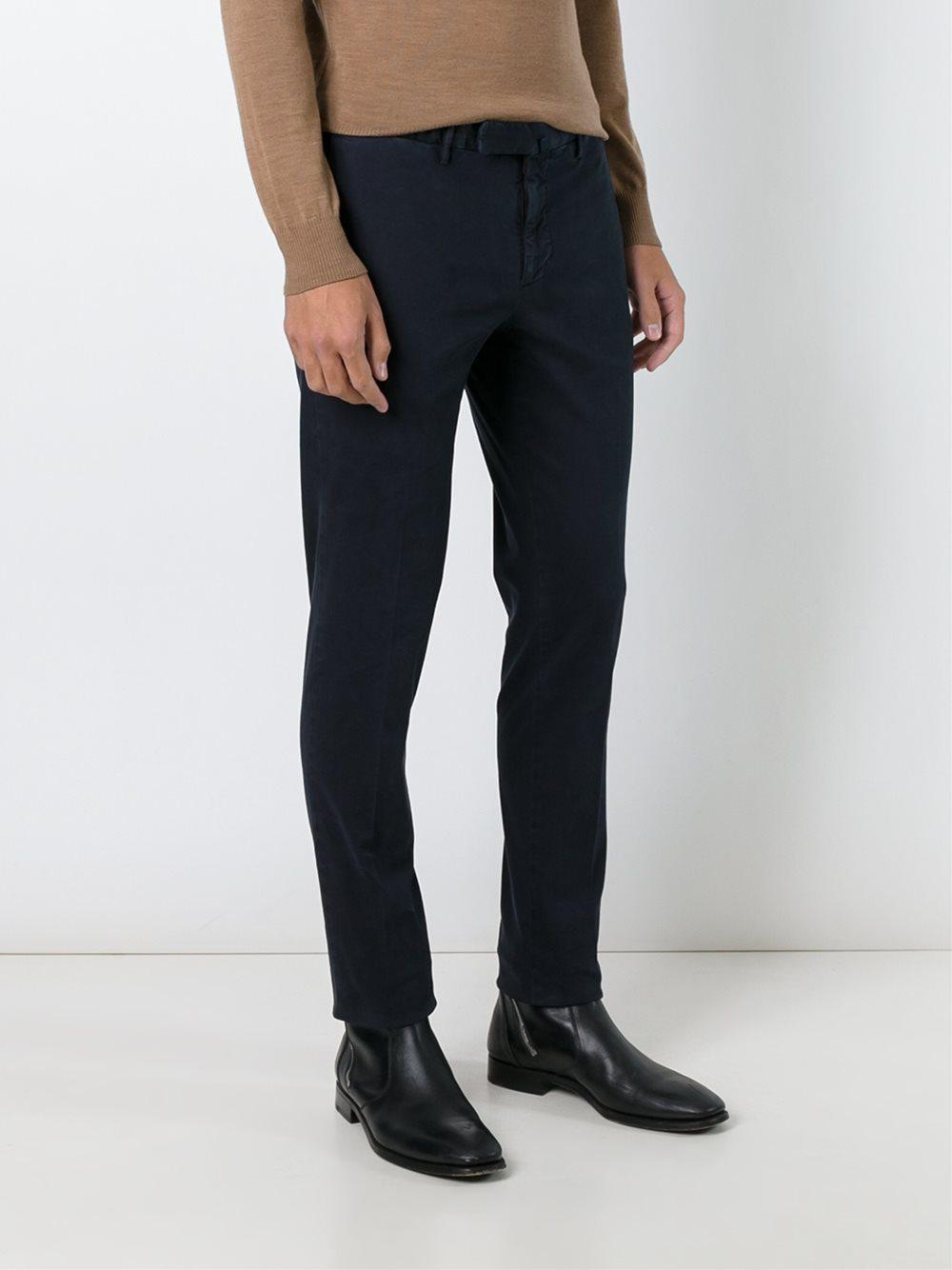Incotex Cotton Skinny Fit Chinos in Blue for Men