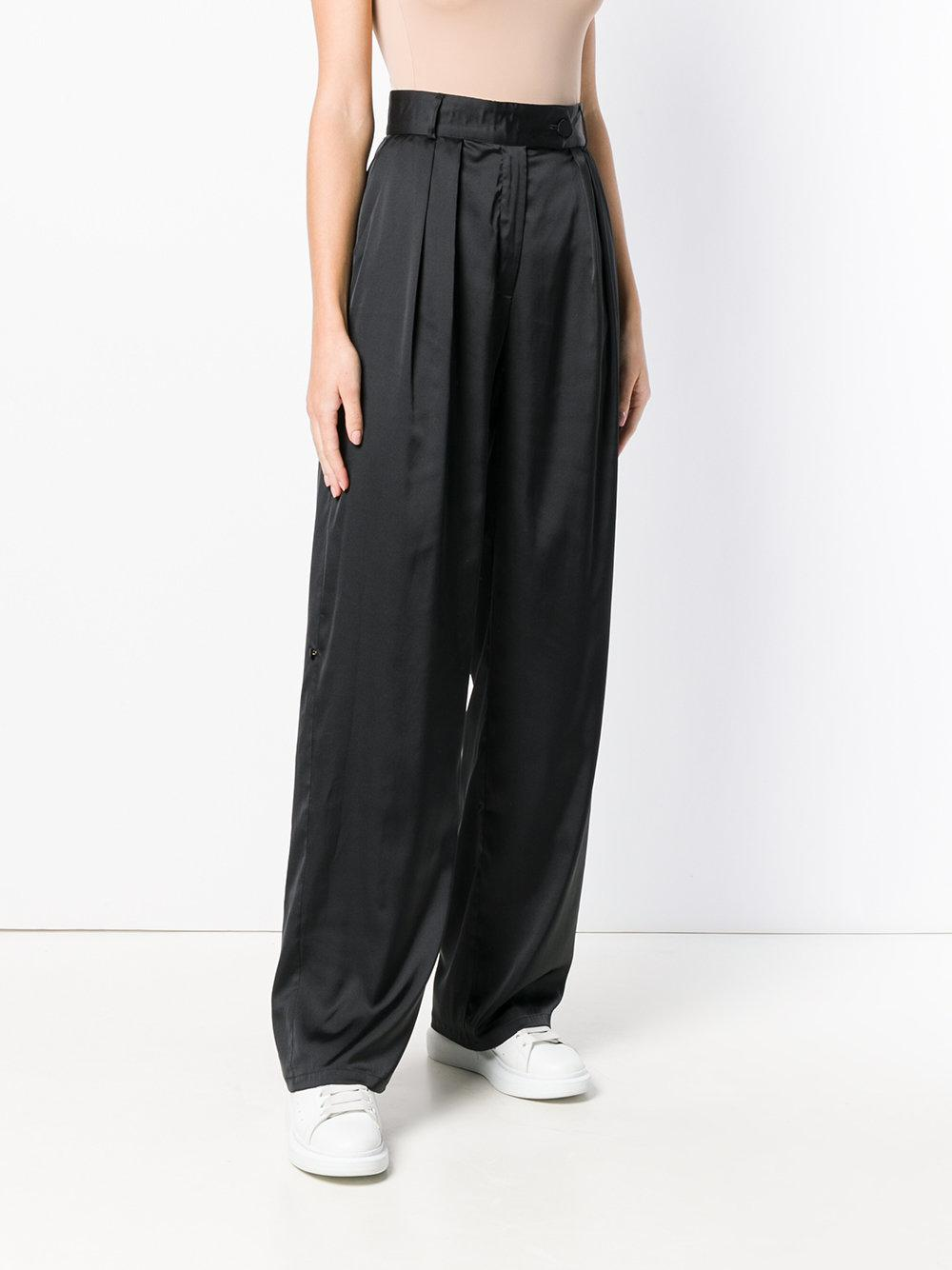 Styland Synthetic Wide Leg Trousers in Black