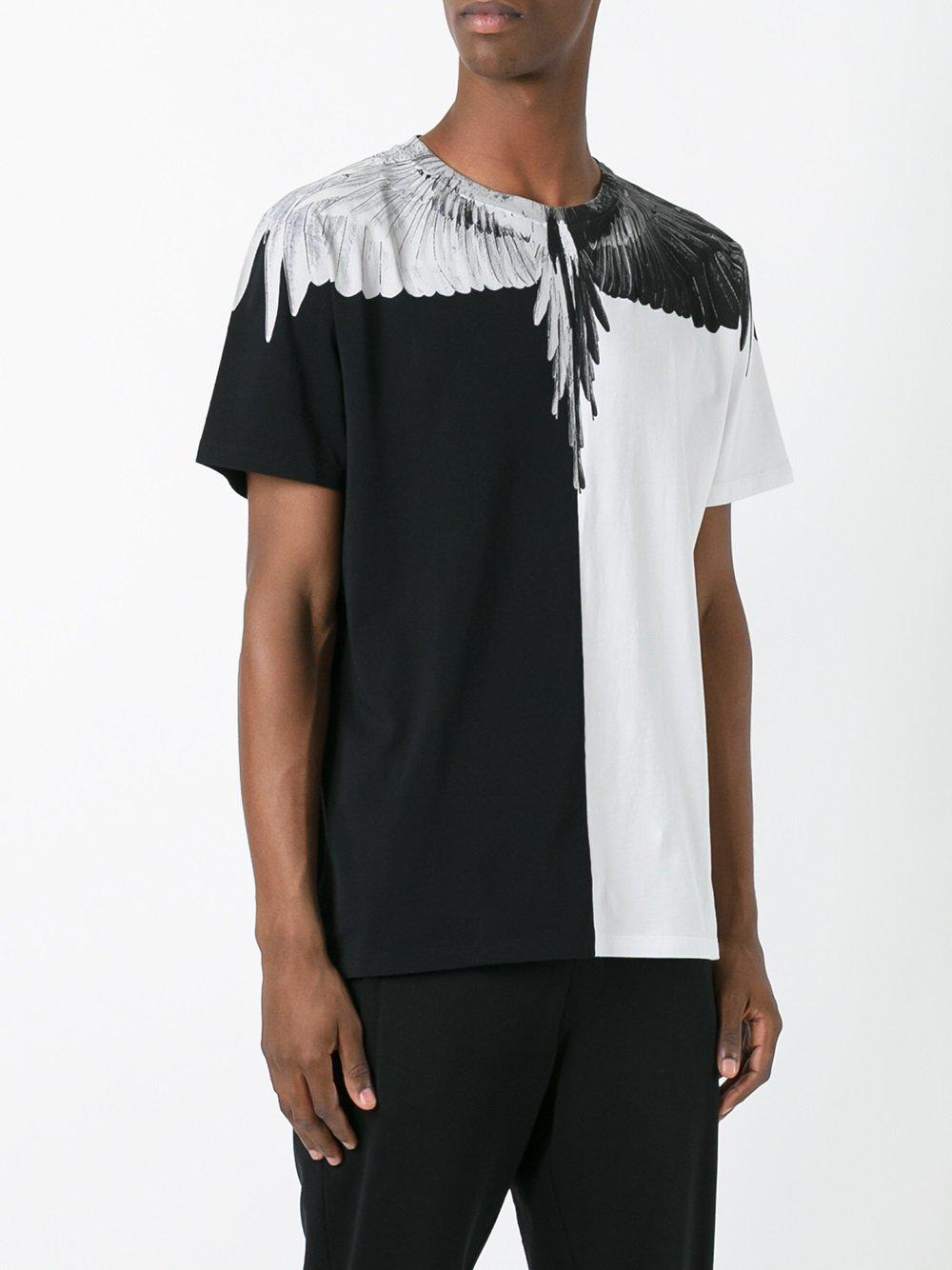 Marcelo Burlon Cotton Wings Print T Shirt In Black For Men