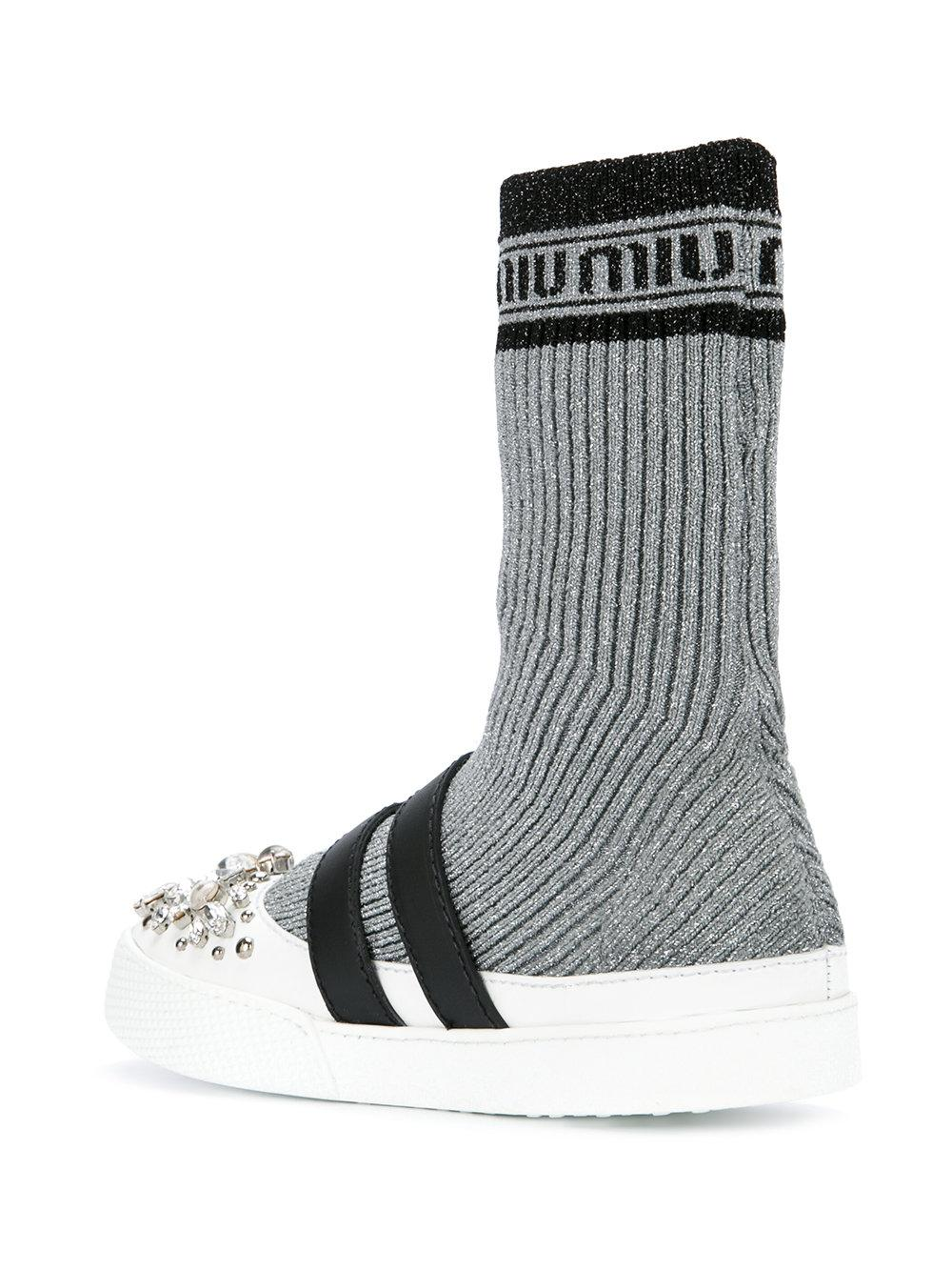 sock insert sneakers - Metallic Miu Miu