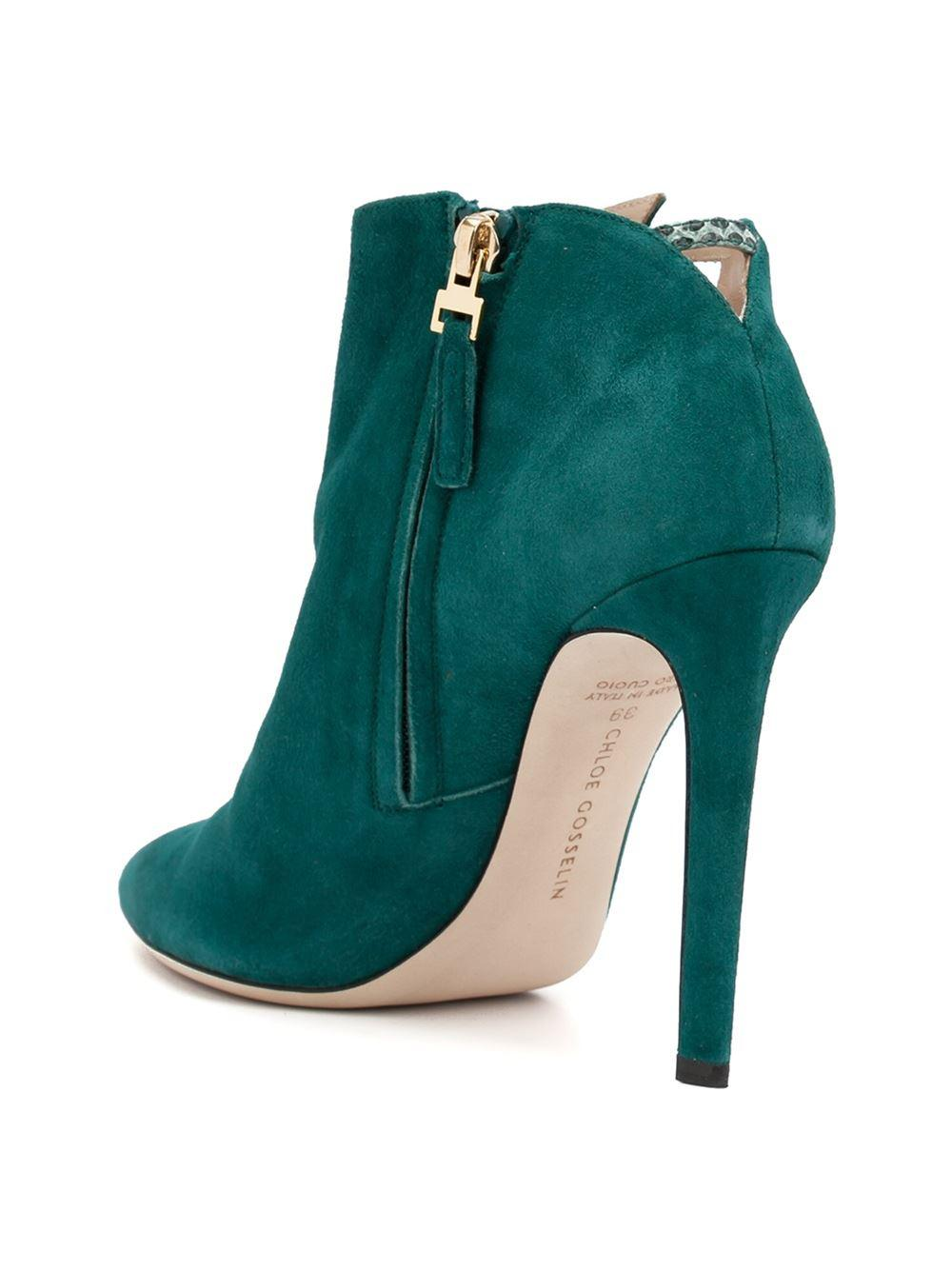Chloe Gosselin Leather Snakeskin Effect Azalea Booties in Green