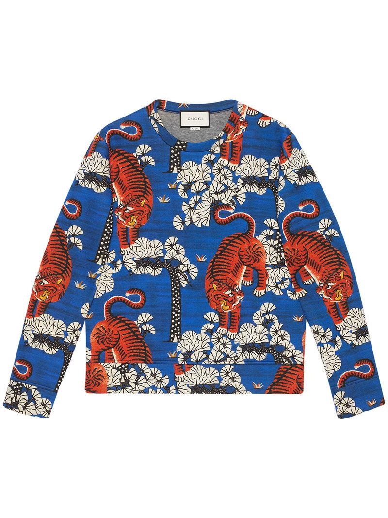 e21003457 Gucci Bengal Print Sweatshirt in Blue for Men - Lyst