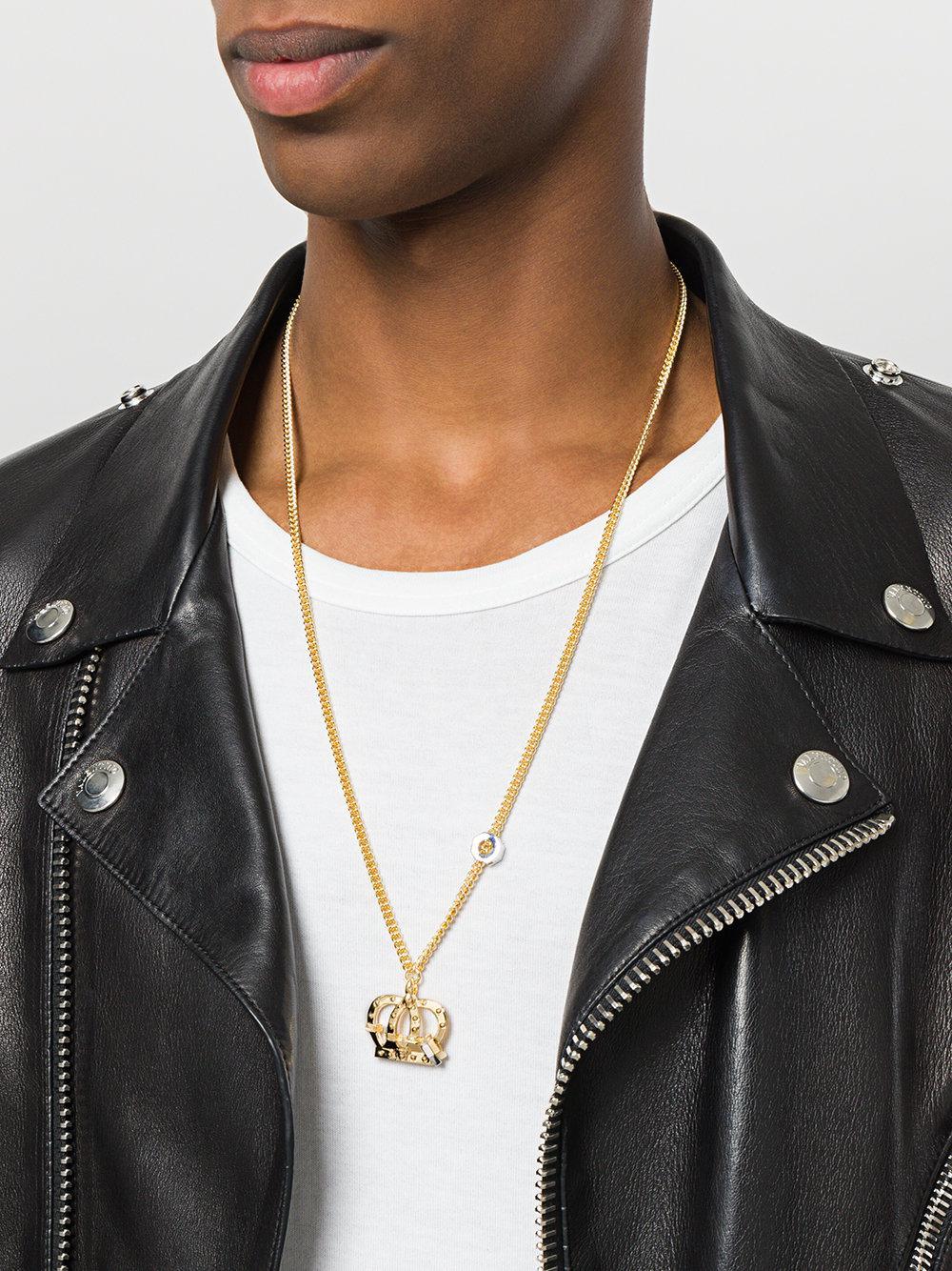 Versace Crown Pendant Necklace in Metallic for Men