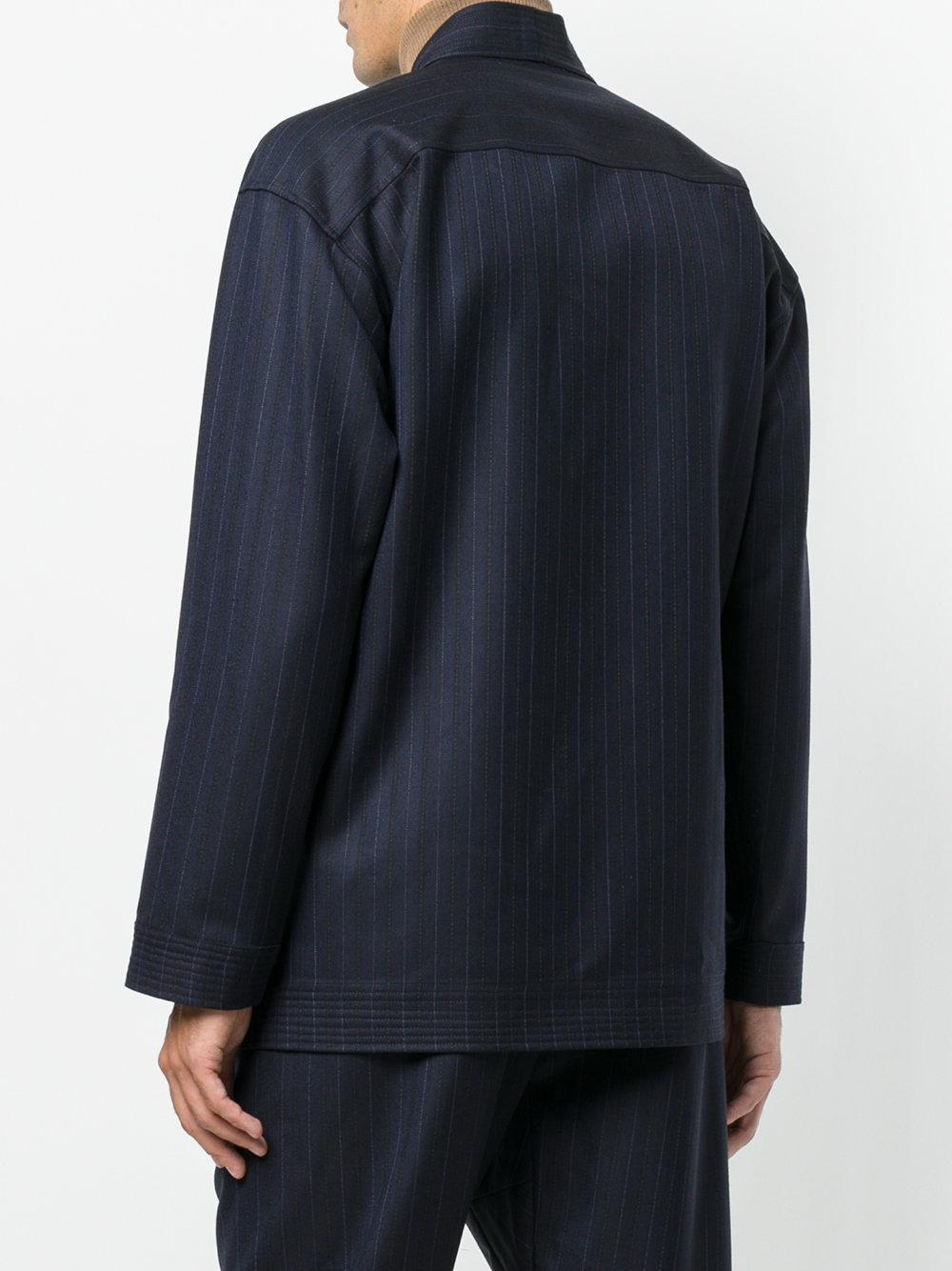 Umit Benan Wool Pinstripe Kimono Style Jacket in Blue for Men