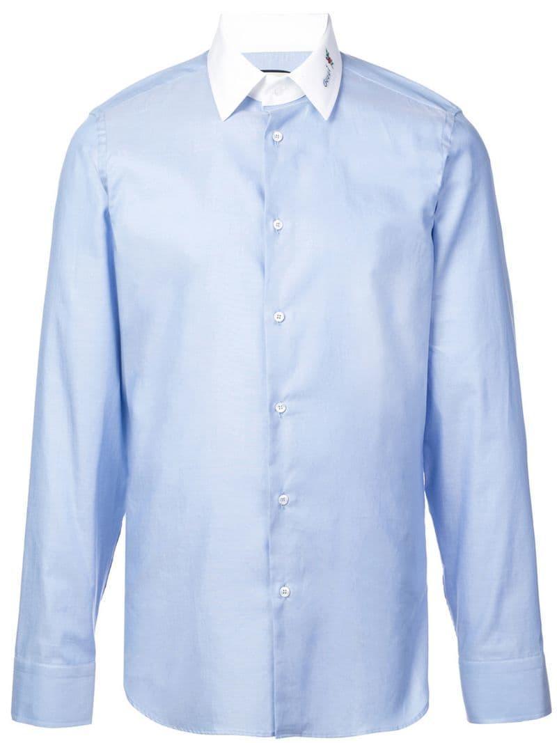 1a7569a71 Gucci Flower Poplin Shirt in Blue for Men - Lyst