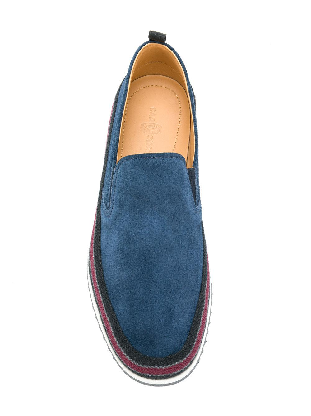 Car Shoe Leather Slip-on Sneakers in Blue