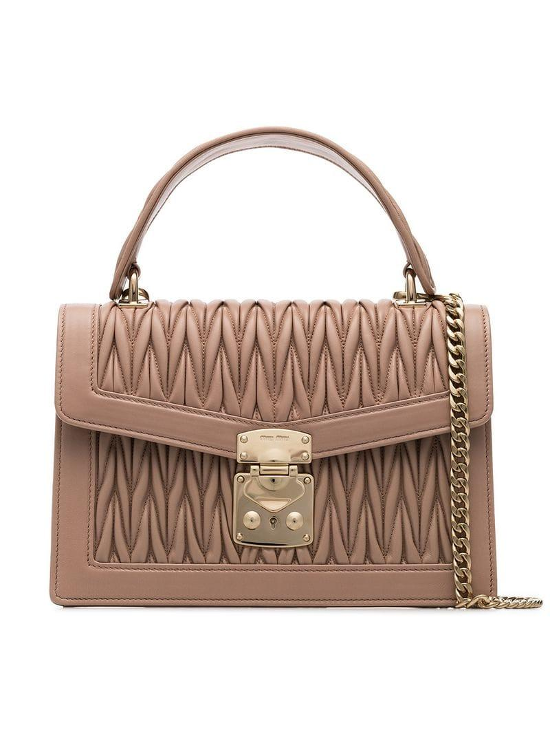 44bb23a02bd64 Miu Miu. Women's Pink Nude Matelasse Top Handle Quilted Leather Shoulder Bag