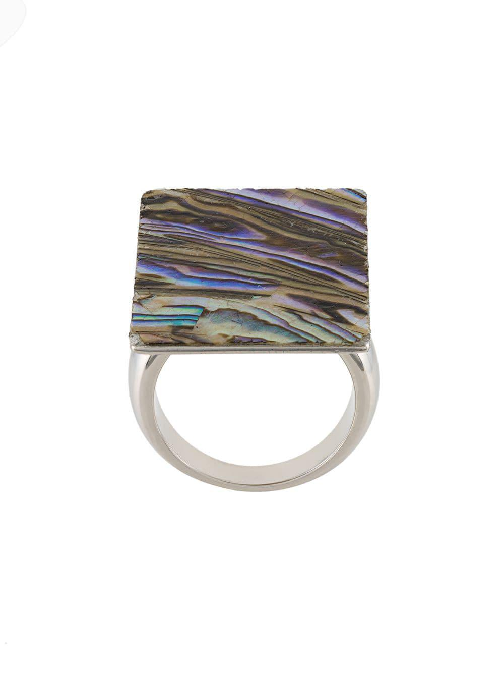 Christopher Kane Mother Of Pearl Ring in Metallic