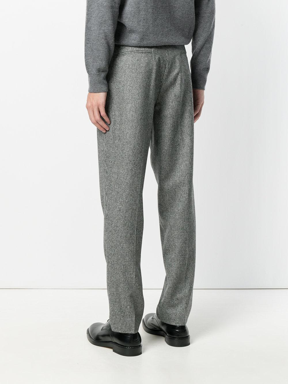 Harmony Wool Houndstooth Print Slim-fit Trousers in Grey (Grey) for Men
