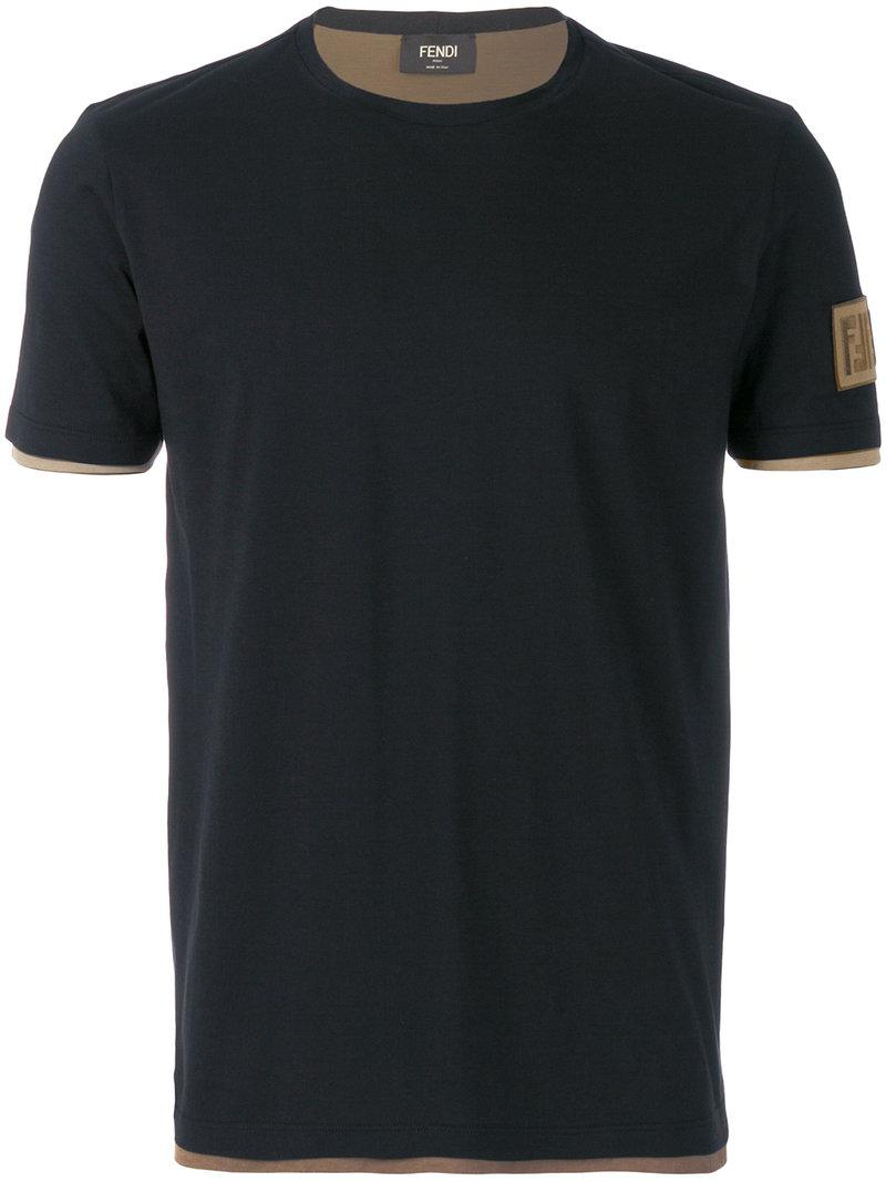 Lyst Fendi Classic Fitted T Shirt In Blue For Men