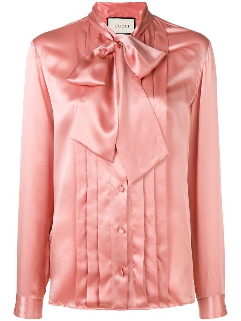 b61ac927c78 Gucci - Pink Рубашка С Бантом - Lyst. На весь экран