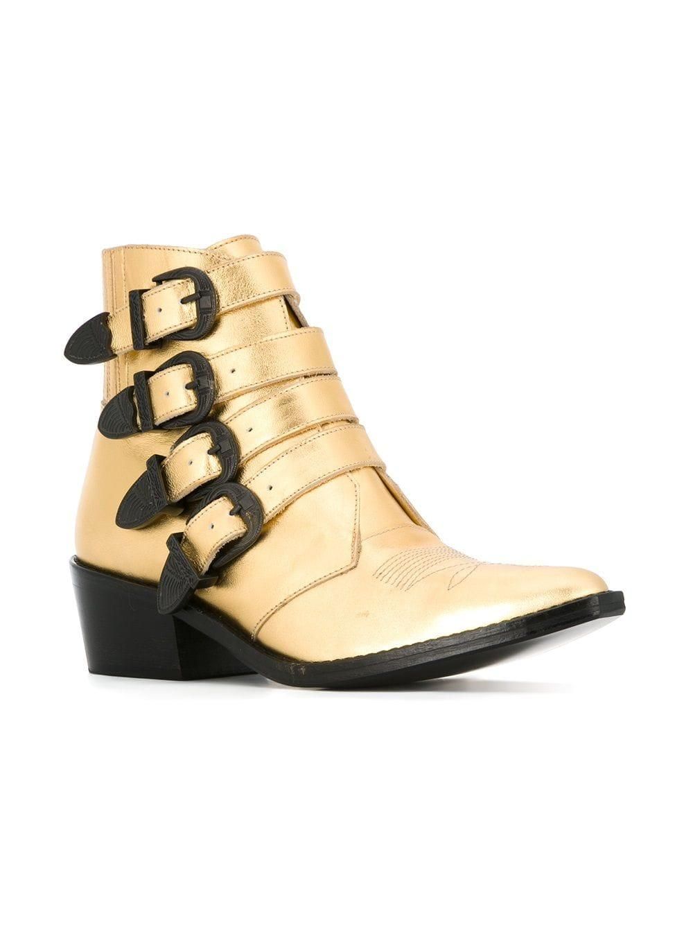 Toga Multi Buckle Leather Ankle Boots in Metallic (Black)
