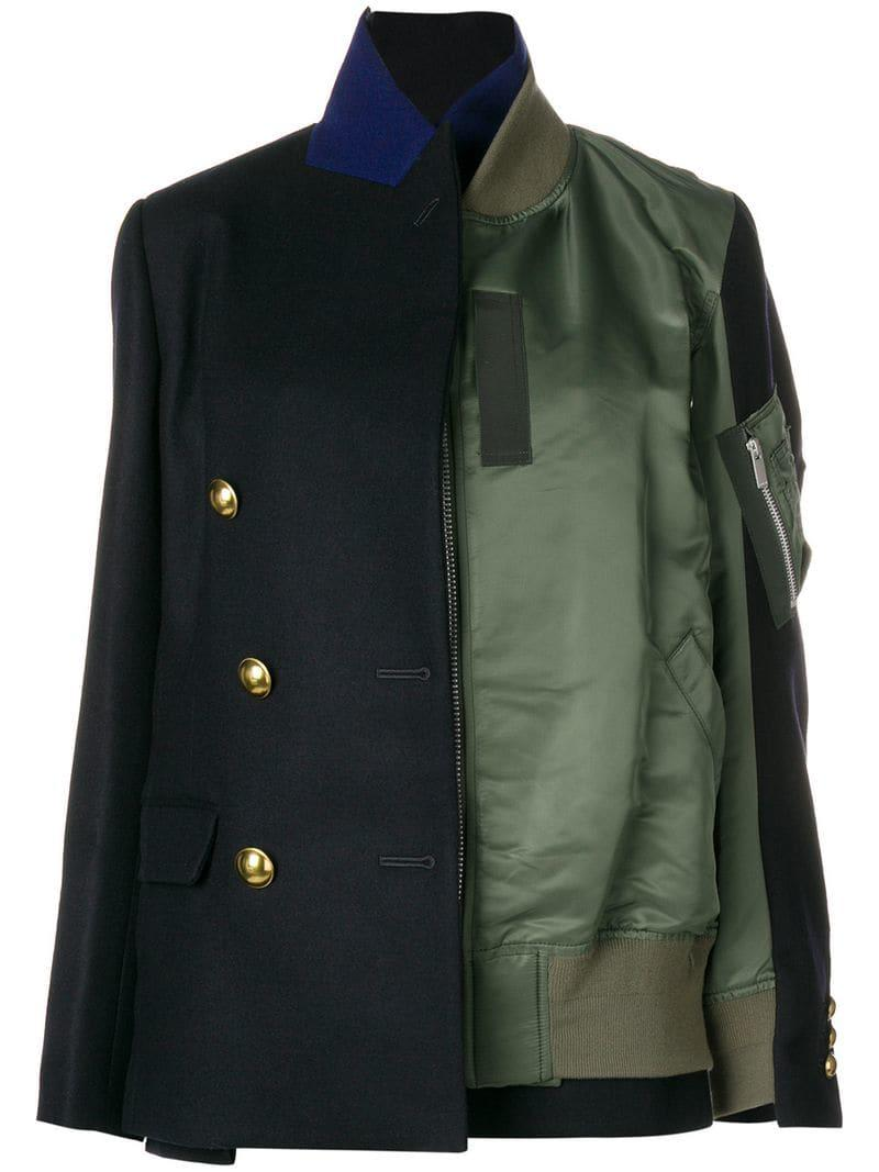 3c9115864 Sacai Black Half Blazer Half Bomber Jacket