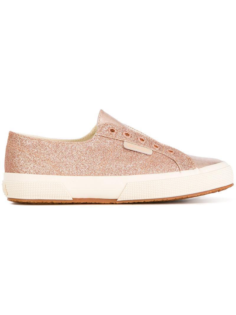 Superga Leather Micro Glitter Sneakers