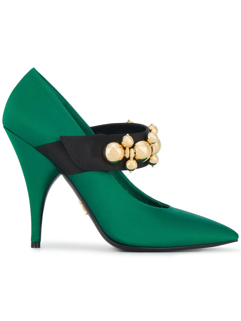 36c5a58a2886 Lyst - Prada Pumps Ricamate  runway  in Green - Save 65%