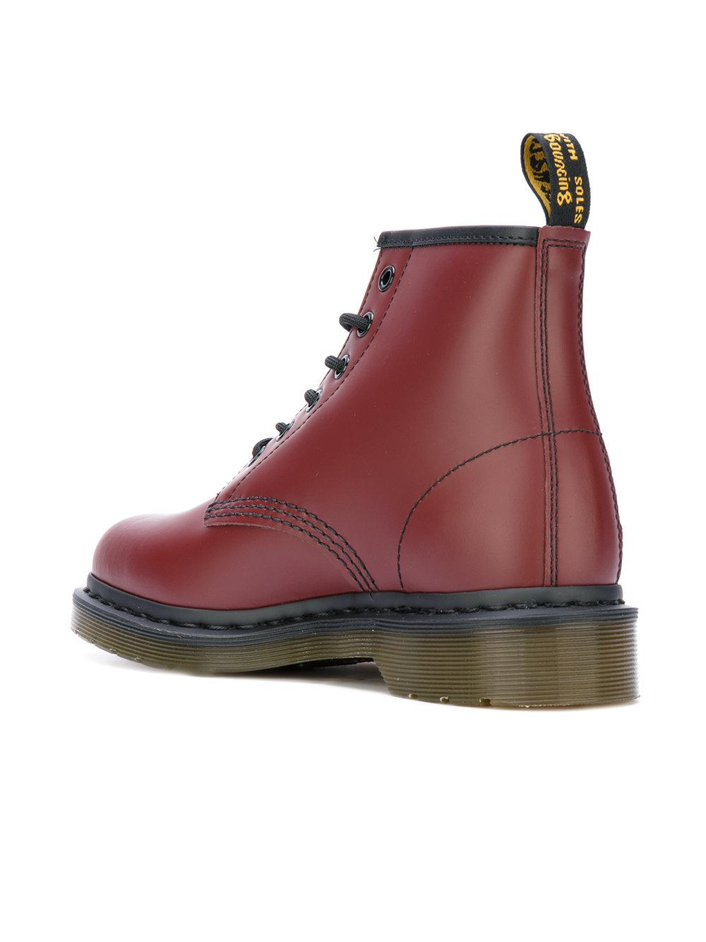 Dr. Martens Leather 101 Smooth Boots in Red