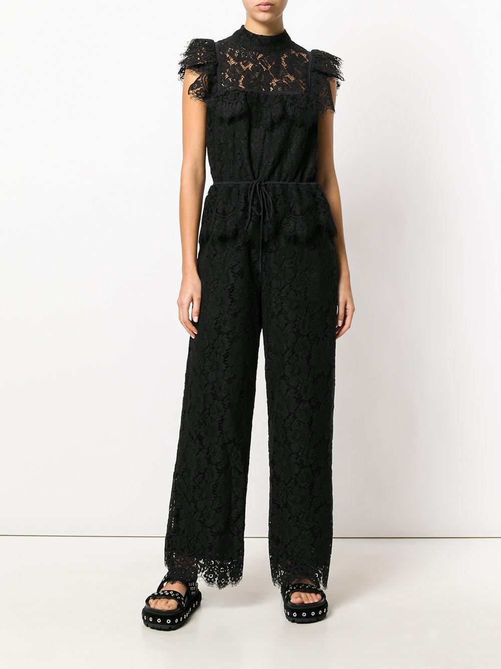 a7a82b0cf0c1 Ganni Jerome Lace Jumpsuit in Black - Lyst