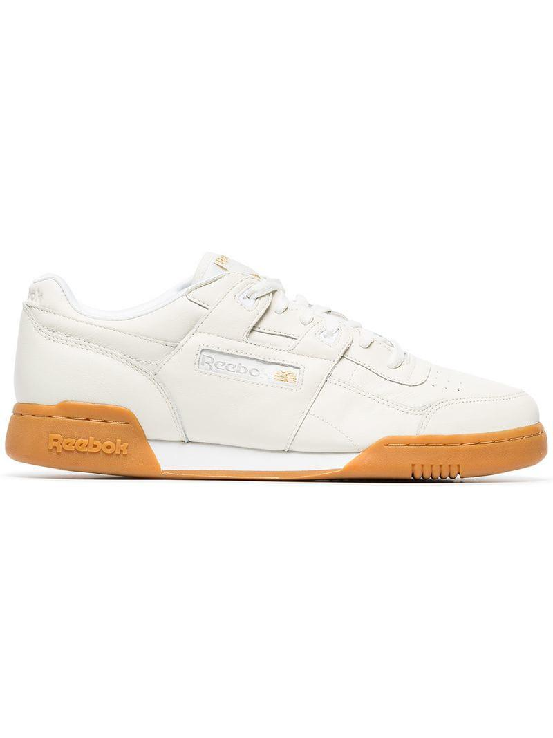 8df8b9adf6d2 Reebok White Workout Plus Leather Sneakers in White for Men - Lyst