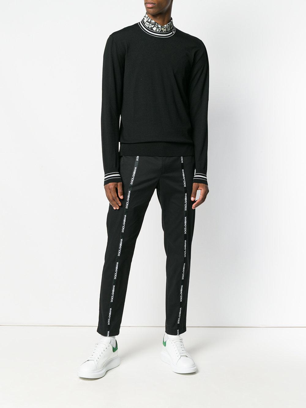 Dolce & Gabbana Cotton Logo Strap Trousers in Black for Men