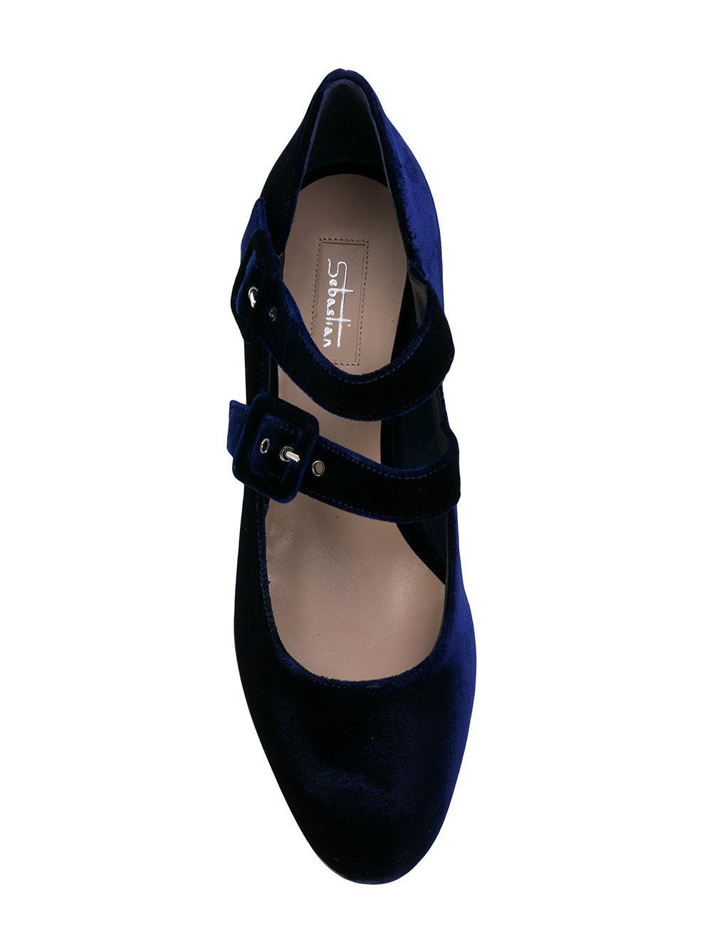Sebastian Double Buckle Embellished Heel Pumps In Blue Lyst