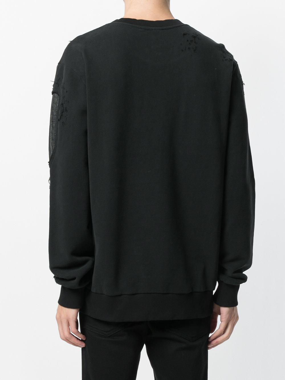 RH45 Cotton Printed Long Sleeve Jumper in Black for Men