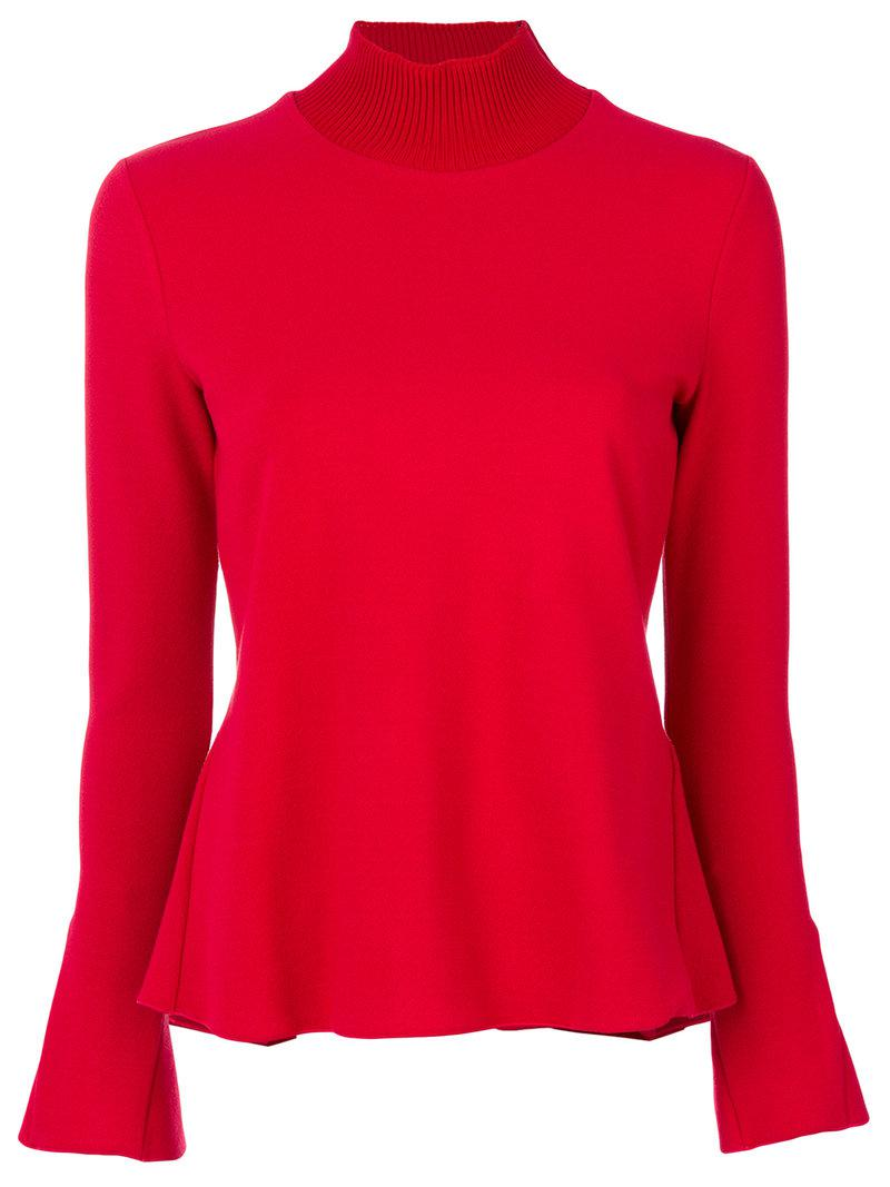 emporio armani ribbed high neck pullover in red lyst. Black Bedroom Furniture Sets. Home Design Ideas