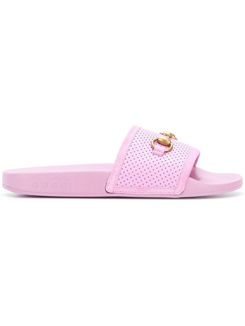 2c800ab84d6 Gucci Horsebit Perforated Sliders in Pink - Save 43.54838709677419 ...